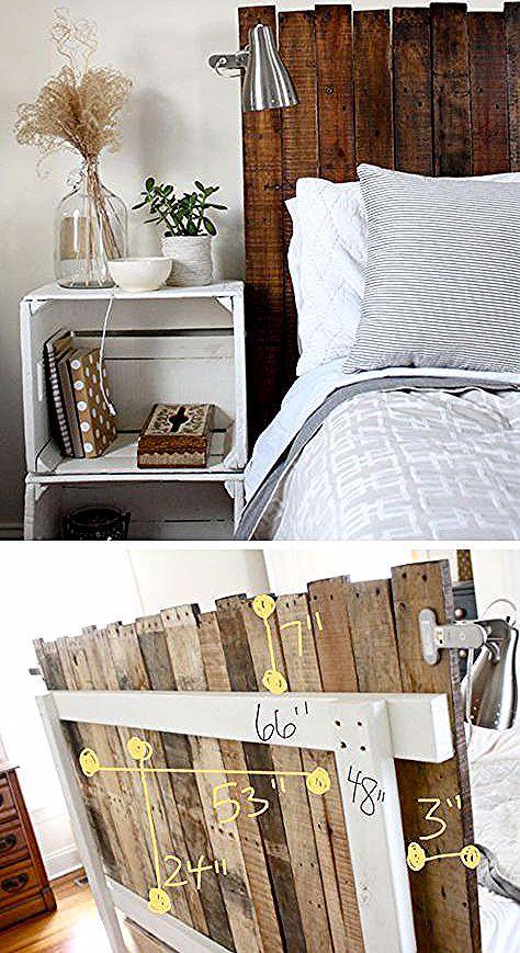 30+ rustikale Holz Kopfteil DIY Ideen - aSelbermachen | Diy .