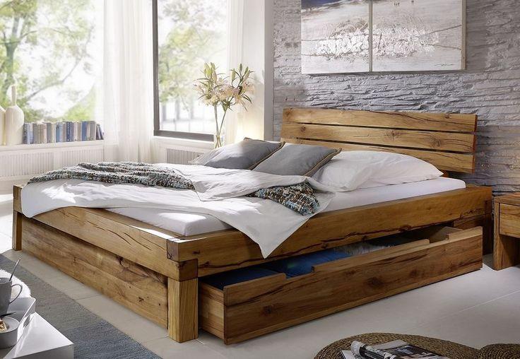 Balkenbett Bett Doppelbett 180x200cm Wildeiche Eiche Holz massiv .