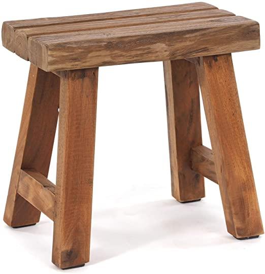 DESIGN DELIGHTS SITZHOCKER Rustic | 41x42x24 cm, Recycling Holz .