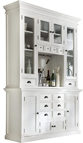 Amazon.com: NovaSolo Halifax Pure White Mahogany Wood Hutch .