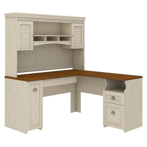 Bush Furniture Fairview L Shaped Desk With Hutch In Antique White .