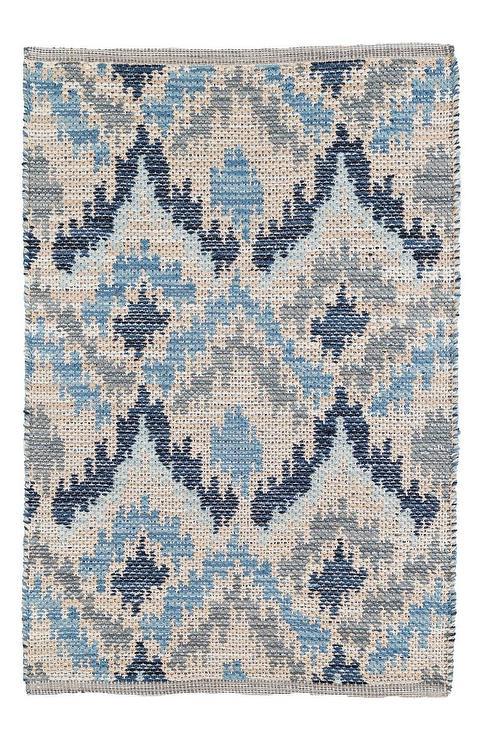 Medina Blue Gray Ikat Pattern Woven R