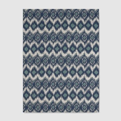 Ikat Outdoor Rug Blue - Threshold™ : Targ