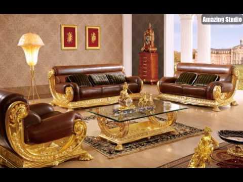 Barock Stil Italienische Möbel Leder Gold Tapete Mit Ornamenten .