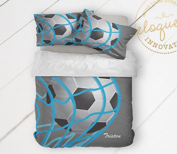 Jungen Fußball Bettwäsche Bettbezug grau & blau Fußball | Et