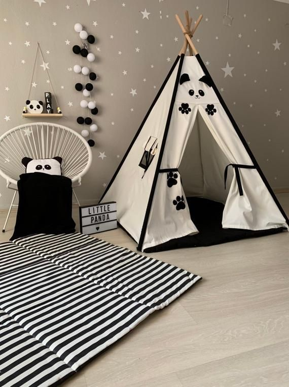 Panda Tipi, schwarz Kinder Tipi, Indoor Zelt, schwarz weiß Wigwam .