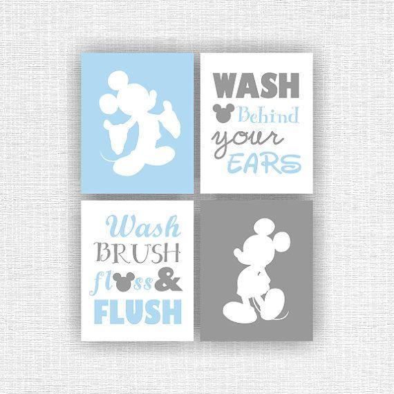INSTANT DOWNLOAD blau und grau Mickey Mouse und Zitat Bad-Wand .