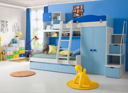 Warme Speise Kinder Schlafzimmer Kinder Blau Nach Hause Schlafsaal .