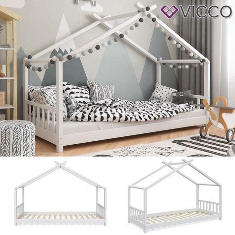 Vicco VICCO Kinderbett Hausbett DESIGN 90x200cm Kinder Bett Holz .