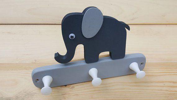 Children's wardrobe wooden elephant hook strip wall hook coat .
