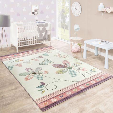 Kinderteppich Blumig Pastell Creme   Pink rug, Patterned carpet .