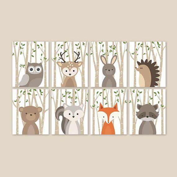 Baby Deer Nursery Decor, Woodland Animal Prints Wall Art for .