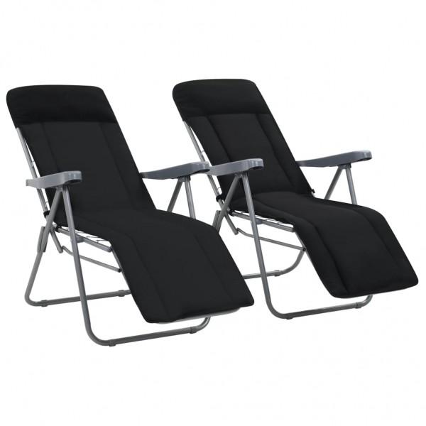 Klappbare Gartenstühle mit Auflagen 2 Stk. Schwarz | Gartenstühle .