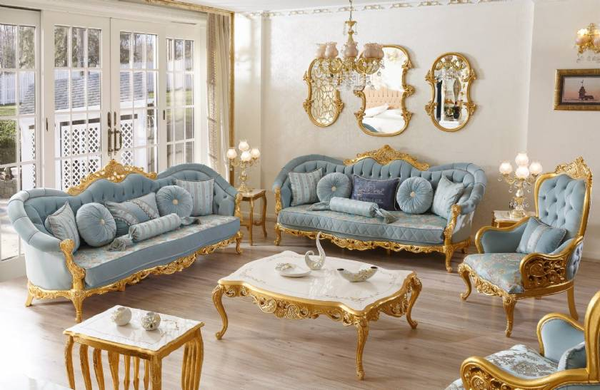 Hervorragendes klassisches Sofa Goldlack geschnitzt Moderne Antik .