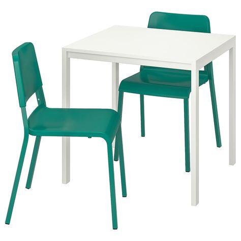 MELLTORP / TEODORES Tisch und 2 Stühle - weiß, grün - IKEA .