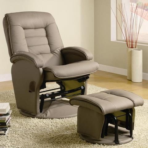Kinley Gliding Chair And Ottoman in Beige Vinyl by Coaster .