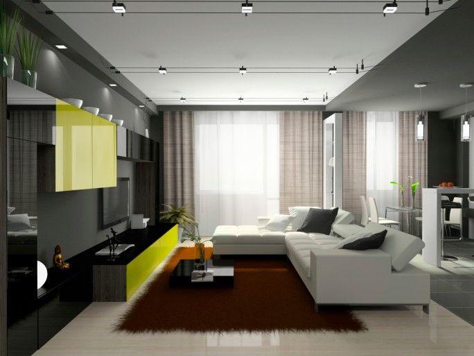 Dunkles Wohnzimmer mit schwarze Mauer, weiße Schnittsofa und .