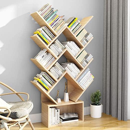 wishom Bücherregale und Bücherregal, 14 Regalbretter, MDF, Schwarz .