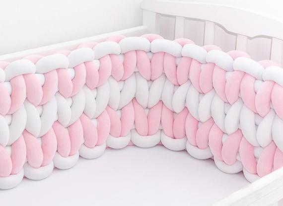 Geflochtene Krippe Stoßstange. Babybett Stoßkissen Kissen für .