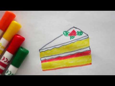 Stück Kuchen zeichnen - Torte malen - How to draw a piece of cake .