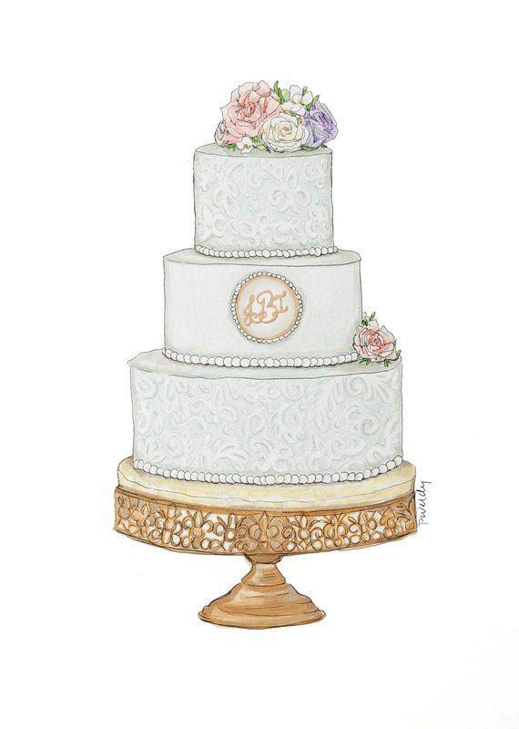 Hochzeitstorte Zeichnung, Kuchen Illustration, benutzerdefinierte .