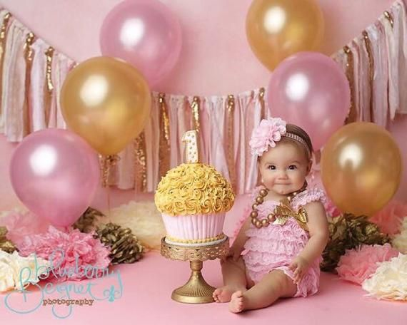 Pink and gold birthday banner - photography prop, cake smash .