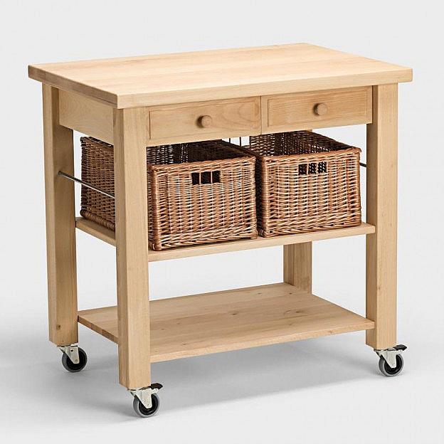 Küchenwagen mit 2 Weidenkörben aus Buchen-Holz - Biber.c