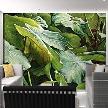 LONGYUCHEN Tapete 3D Kundenspezifisches Tropisches Regenwaldgrün .