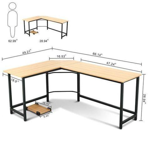 Harkey L-shaped computer table - #computerdeskdiy #computertisch .