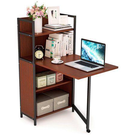 Tribesigns Klapp-Computertisch mit Bücherregalen, L-förmiger .