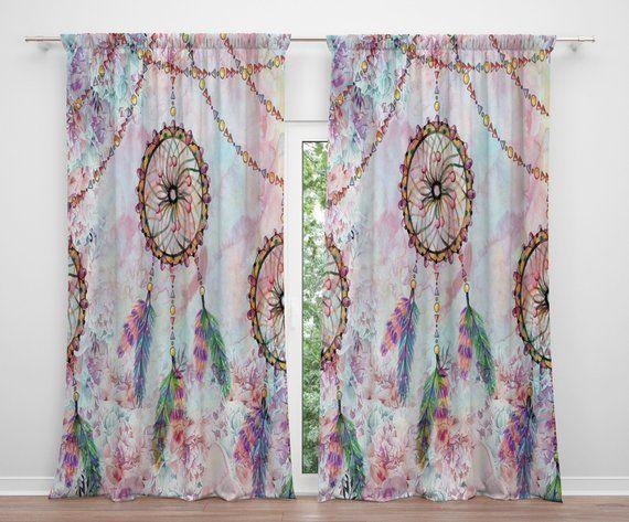 Pastel Dream Catcher Fenstervorhänge, Boho Vorhänge, Vorhänge .