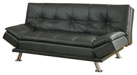 Elegantes Futon Schlafsofa Aus Leder Metall Bein Faux Leder Sofa .