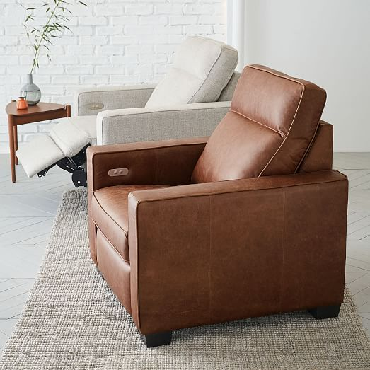 Henry® Leather Power Recliner Chair - Tobacco | west elm | Power .