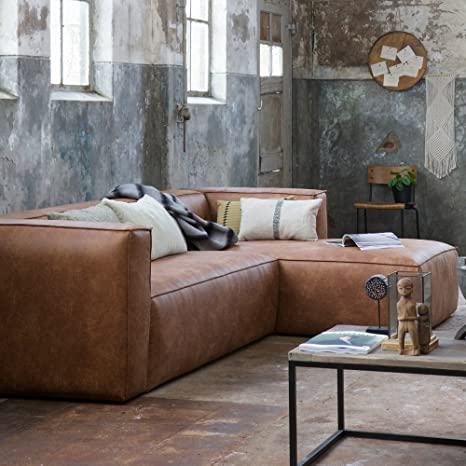 Eckgarnitur BEAN Leder cognac Couch Sofa Ecksofa Ledercouch .