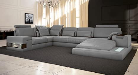 Ledersofa grau Wohnlandschaft Leder Sofa Couch U-Form Ecksofa .