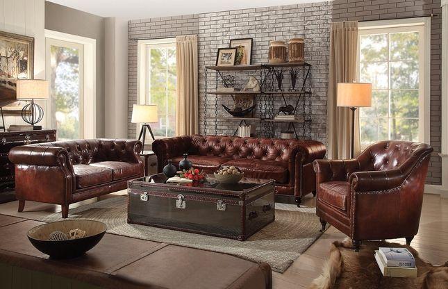 Braune Ledercouch im Wohnzimmer #livingroomideas#braune .