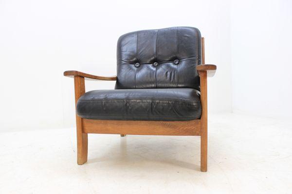 Schwarze skandinavische Ledersessel, 1960er, 2er Set bei Pamono kauf