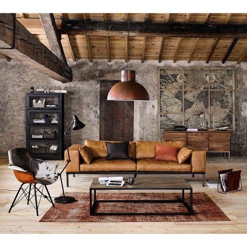 Ledersofa 4-sitzig, camelfarben | Masculine living rooms, Living .