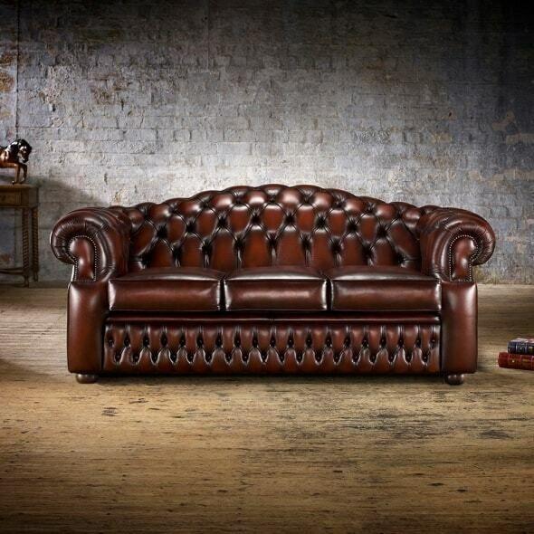Details zu 3 Sitzer Chesterfield Ledersofa Wohnzimmer Designer .
