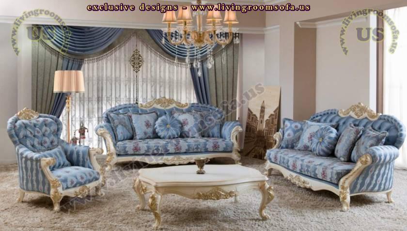 blue retro living room design elegant sofa set - Exclusive Design .