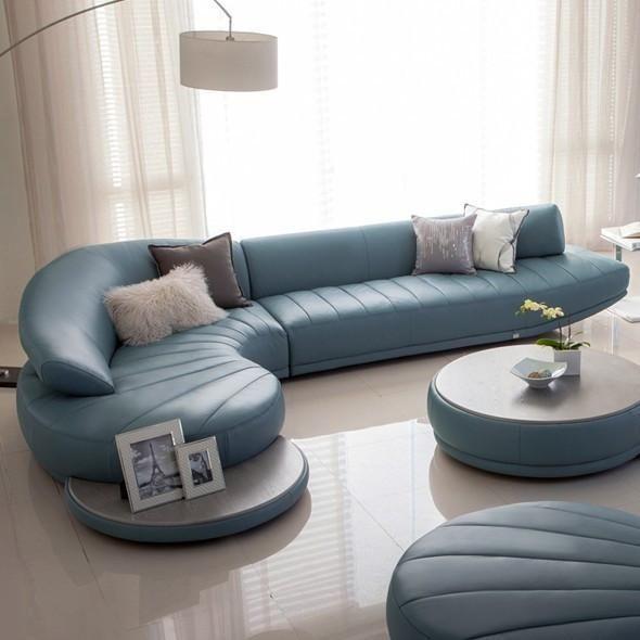 Living Room Furniture, Curved Leather Sofa Set | Living room sofa .