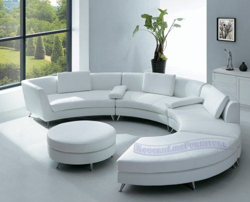 Modern Furniture White Leather Sectional Sofa with Ottoman and .