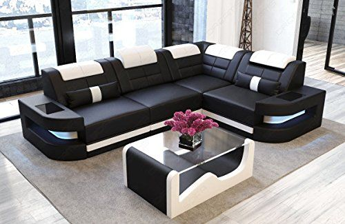 Sofa Dreams Ledersofa Como L Form schwarz-Weiss | Modern sofa .