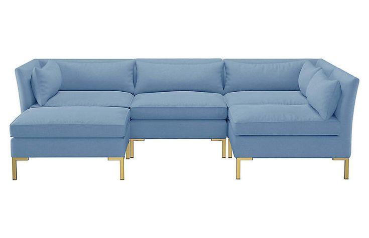 Marceau U-Shaped Sectional - French Blue Linen - #french #linen .