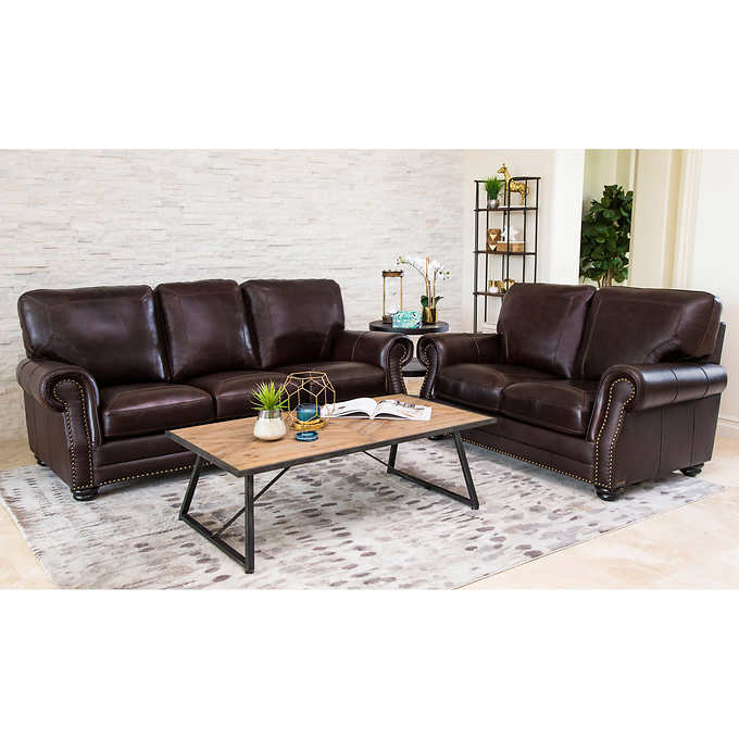 Talia 2-piece Leather Sofa and Loveseat Living Room S