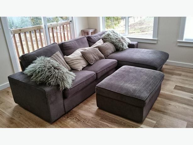Like New IKEA KIVIK loveseat sofa with chaise, matching ottoman .