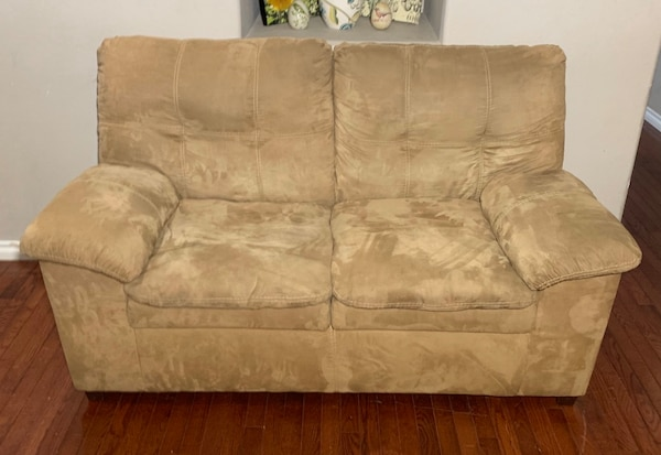 Used Ashley Furniture Beige Microfiber Loveseat w/ Double-Padded .