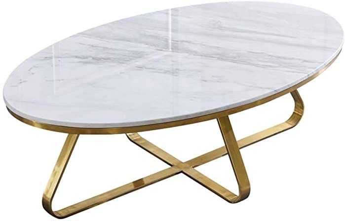 Einfacher Kleines Wohnzimmer Marmortisch, goldene Oval Edelstahl .