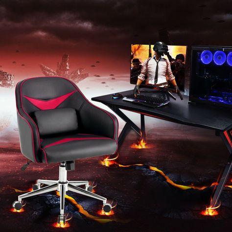 Bürostuhl Höhenverstellbar mit Massage Lendenwirbelstütze-Rot .