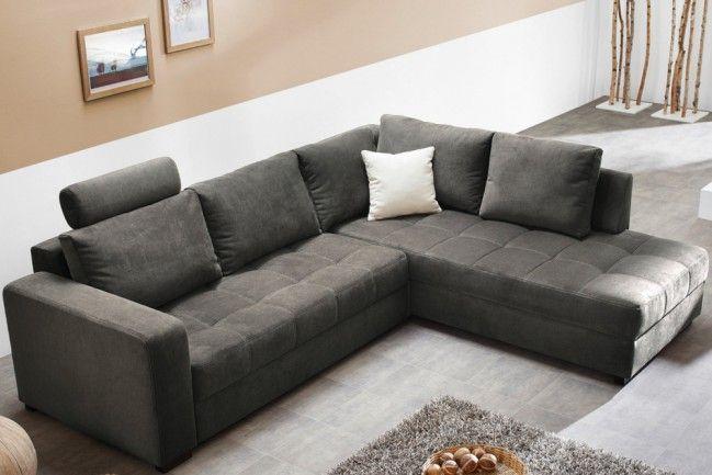 Moderne Wohnlandschaft AURA KPL Microfaser anthrazit | Couch, Sofa .